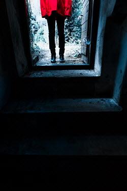 Magdalena Russocka modern young woman entering basement