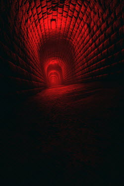 Andrei Cosma LONG DARK STONE TUNNEL WITH RED LIGHT Miscellaneous Buildings