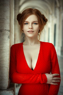 Katerina Klio GIRL WITH RED HAIR AND DRESS IN PASSAGEWAY Women