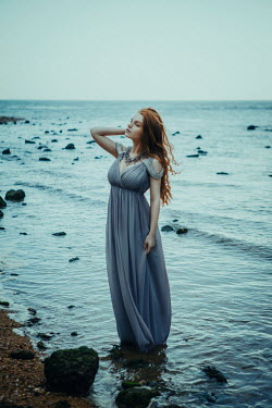 Katerina Klio WOMAN WITH RED HAIR STANDING IN SEA Women