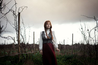 Katerina Klio GIRL WITH RED HAIR STANDING IN FIELD Women