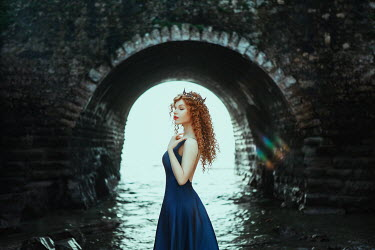 Katerina Klio WOMAN WITH RED HAIR BY RIVER AND ARCHED BRIDGE Women