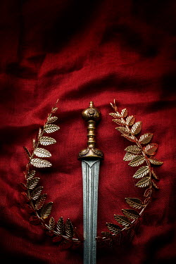 Stephen Mulcahey GOLDEN SWORD AND WREATH LYING ON RED FABRIC Miscellaneous Objects