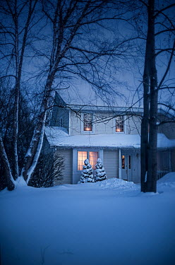 Terry Bidgood LIGHTS IN HOUSE WITH SNOWY GARDEN AT DUSK Houses