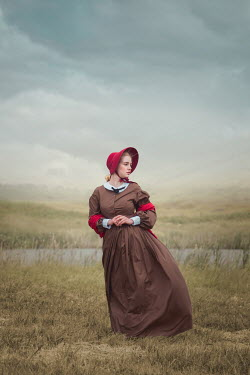 Joanna Czogala WOMAN WITH BONNET IN FIELD BY LAKE Women