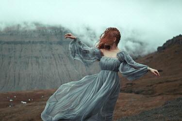 Katerina Klio WOMAN WITH RED HAIR ON WINDY MOUNTAIN Women