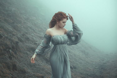 Katerina Klio WOMAN WITH RED HAIR ON MISTY MOUNTAIN Women