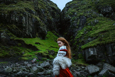 Katerina Klio GIRL WITH RED HAIR AND FUR SHAWL BY CLIFFS Women