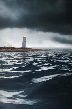 Evelina Kremsdorf LIGHTHOUSE WITH STORMY SKY Miscellaneous Buildings