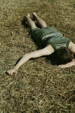 Giovan Battista D'Achille MAN IN SHORTS LYING FACE DOWN ON STRAW Men