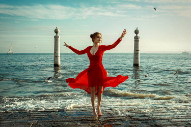 Katerina Klio WOMAN WITH RED DRESS DANCING BY SEA Women