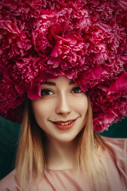 Katerina Klio HAPPY BLONDE WOMAN WITH HAT OF PINK FLOWERS Women