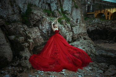 Katerina Klio WOMAN IN LONG RED DRESS BY CLIFFS Women