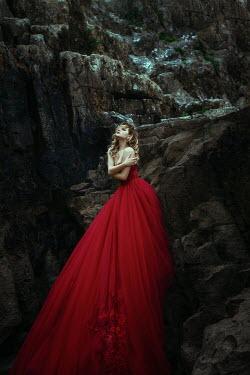 Katerina Klio WOMAN IN LONG RED DRESS BY CLIFFS Women