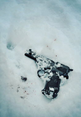 Lyn Randle GUN IN SNOW WITH DOTS OF BLOOD Weapons