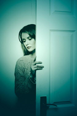 Miguel Sobreira WOMAN OPENING DOOR INSIDE HOME Women
