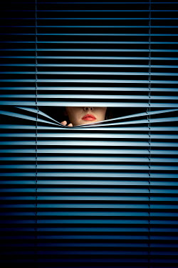 Miguel Sobreira WOMAN PEEPING BEHIND BLINDS AT NIGHT Women