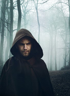 Mark Owen HOODED MAN WITH CAPE IN FOGGY FOREST Men