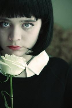 Robin Macmillan SERIOUS YOUG GIRL WITH WHITE ROSE Children