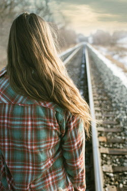 Robin Macmillan GIRL IN PLAID SHIRT STANDING ON RAILWAY TRACKS Women