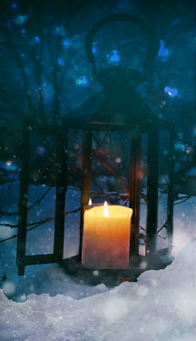 Sandra Cunningham GLOWING CANDLE IN LANTERN ON SNOWY GROUND Miscellaneous Objects