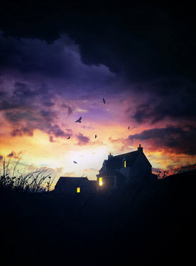 Sandra Cunningham Dark silouette of a house on hill