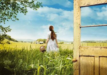 Sandra Cunningham OPEN DOOR WITH GIRL IN SUMMERY COUNTRYSIDE Women