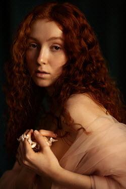 Elena Alferova WOMAN WITH RED HAIR AND CHIFFON WRAP Women