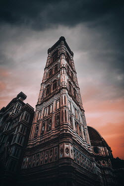 Evelina Kremsdorf HISTORICAL TOWER FROM BELOW AT SUNSET Religious Buildings
