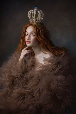 Beata Banach WOMAN WITH CORONET AND FRILLY SILK GOWN Women