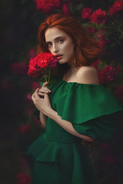 Beata Banach WOMAN IN GREEN DRESS WITH RED HAIR AND FLOWERS Women
