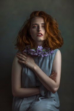 Beata Banach WOMAN WITH RED HAIR AND PURPLE FLOWERS Women