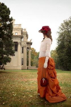 ILINA SIMEONOVA HISTORICAL WOMAN IN GARDEN WATCHING GRAND HOUSE Women