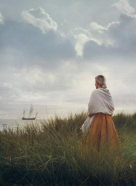 Mark Owen BLONDE WOMAN WITH SHAWL WATCHING SHIP Women