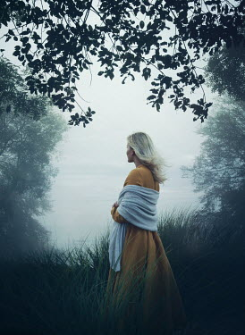 Mark Owen BLONDE WOMAN WITH SHAWL BY LAKE WITH TREES Women