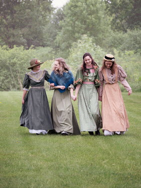 Elisabeth Ansley HAPPY HISTORICAL WOMEN HOLDING HANDS IN GARDEN Groups/Crowds