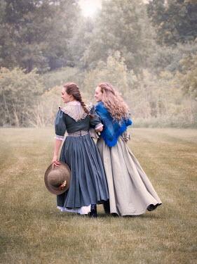 Elisabeth Ansley TWO HAPPY HISTORICAL WOMEN WALKING IN GARDEN Women