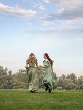 Elisabeth Ansley TWO HISTORICAL WOMEN WALKING IN GARDEN Women