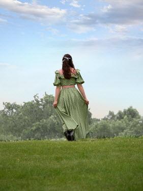 Elisabeth Ansley HISTORICAL WOMAN WALKING ALONE IN GARDEN Women
