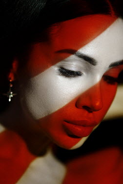 Kirill Sakryukin FEMALE FACE COVERED WITH RED STRIPES Women