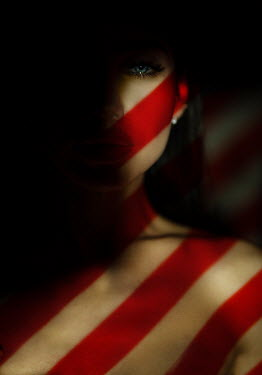 Kirill Sakryukin WOMAN COVERED WITH RED STRIPES Women