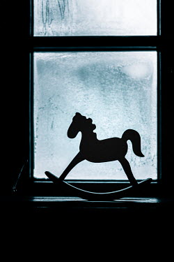 Magdalena Russocka rocking horse toy standing by old window