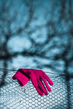 Magdalena Russocka red glove hanging on mesh fence