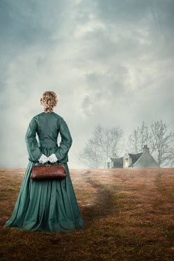Magdalena Russocka historical woman holding medic bag watching cottage