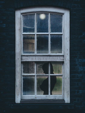 Nic Skerten SILHOUETTED WOMAN STANDING BY WINDOW OF HOUSE Women