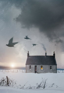 Sandra Cunningham COTTAGE IN SNOW AT SUNSET Houses