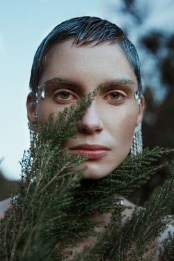 Greta Larosa SERIOUS WOMAN WITH JEWELS AND PLANTS Women