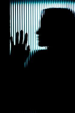 Ildiko Neer SILHOUETTED WOMAN BEHIND WINDOW WITH LINES