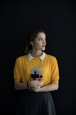 Ildiko Neer Retro woman holding letters
