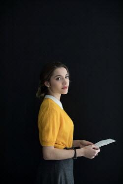 Ildiko Neer Retro woman holding letter